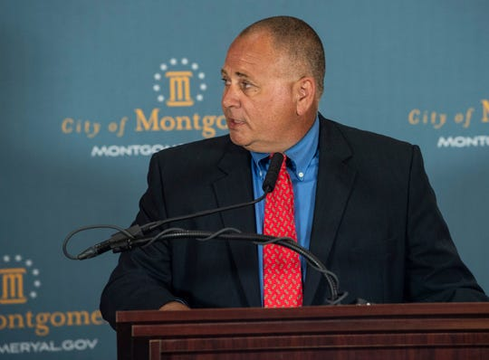 City Councilor Glen Pruitt speaks during a press conference at the Montgomery City Hall in Montgomery, Ala., on Wednesday, June 17, 2020. Mayor Steven Reed announced a executive order requiring the use of face coverings in public.