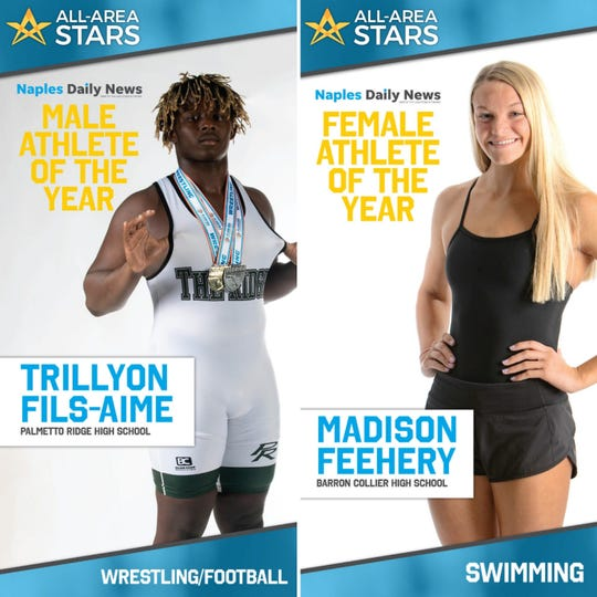 Palmetto Ridge senior Trillyon Fils-Aime and Barron Collier junior Madison Feehery were named Naples Daily News Male and Female Athletes of the Year during the 2020 All-Area Stars Awards Show.