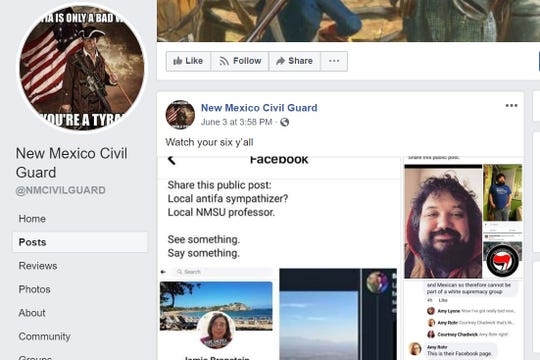 """A June 3, 2020 Facebook post on the New Mexico Civil Guard's page featured photographs of several Las Cruces community members, associating them with """"antifa"""" and stating, """"Watch your six,"""" which was interpreted as a veiled threat."""