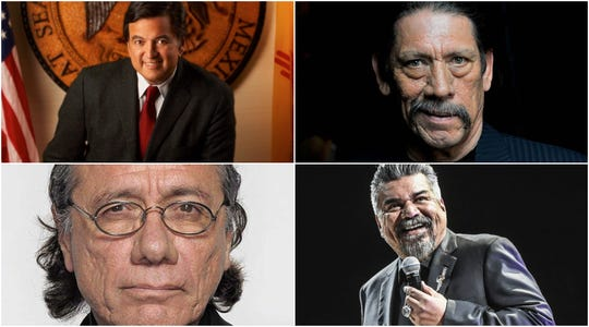 Clockwise, from top left: Former New Mexico Governor Bill Richardson, actor Danny Trejo, actor and comedian George Lopez, and actor Edward James Olmos.