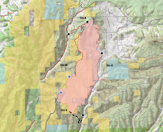 A map shows the East Canyon Fire and the various divisions fighting the blaze.