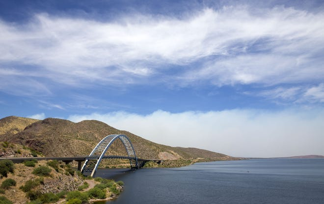 Smoke from the Bush Fire is visible from the Theodore Roosevelt Lake Bridge on June 16, 2020.