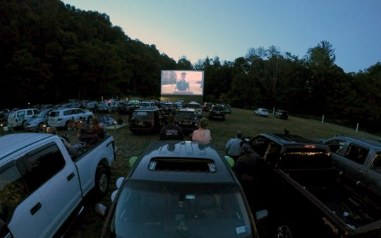 Webutuck High School graduates and their guests watch a video tribute to the graduates at the Four Brother's Drive-in in Amenia June 16, 2020.