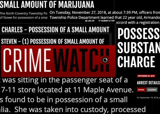 This photo illustration is composed of news releases on Crimewatch for marijuana possession in Pennsylvania.