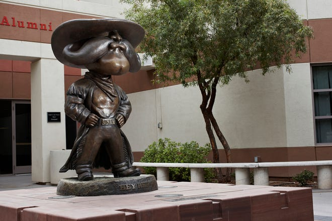 Hey Reb statue photographed in the courtyard of the Tam Alumni Building June 4, 2009 at the University of Nevada, Las Vegas. (Aaron Mayes / UNLV Photo Services)