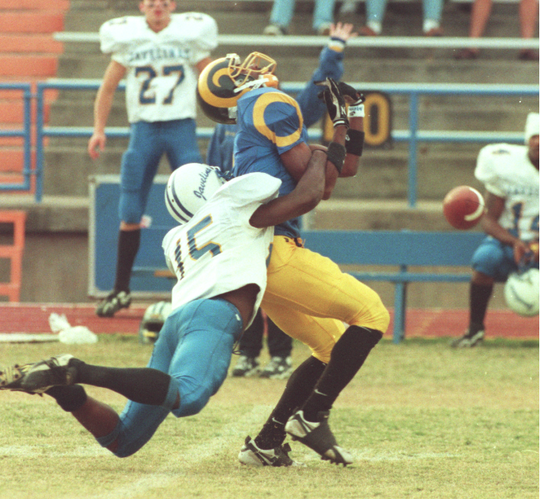 Angelo State's Chris Brazzell draws a pass interference penalty against Texas A&M-Kingsville in a 1996 game at San Angelo Stadium.