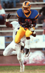 Angelo State's Chris Brazzell comes down with a catch in a 1997 game.