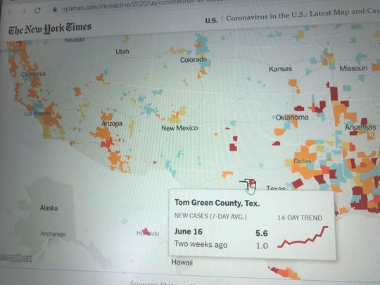 San Angelo COVID-19 spike as shown in the New York Times.