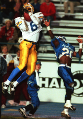 Chris Brazzell hauls in a pass in a 1997 game against Texas A&M-Kingsville.