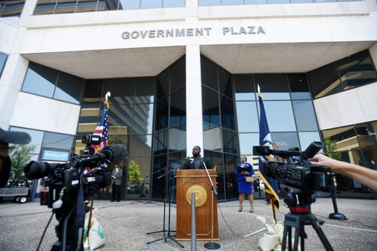 Caddo Parish Commissioner Steven Jackson, District 3, during the press conference Wednesday afternoon on the steps of Government Plaza to talk about their legislation to address police reforms.