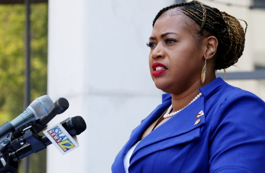 Caddo Parish Commissioner Stormy Gage-Watts, District 7, during the press conference Wednesday afternoon on the steps of Government Plaza to talk about their legislation to address police reforms.