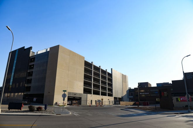 The parking ramp on 10th Street stands partially completed on Saturday, June 16, in Sioux Falls.