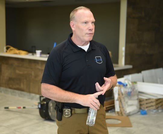 Sartell Police Chief Jim Hughes lists new features in the Sartell Public Safety Facility Wednesday, June 16, 2020, in Sartell.