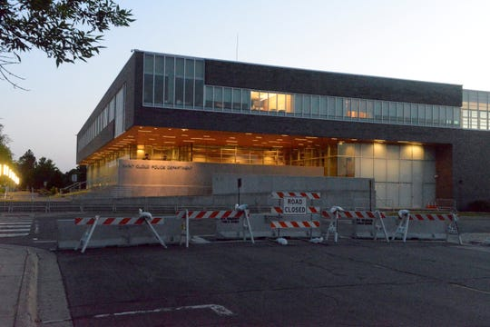 Barriers were placed outside the St. Cloud Police Department Tuesday evening.