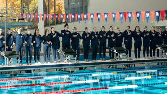 The Dixie State womens swimming team.