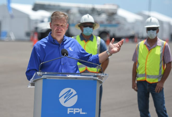 Florida Power & Light CEO Eric Silagy speaks to FPL employees during their hurricane preparedness exercise in June 2020.