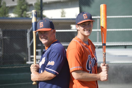 College of the Sequoias baseball coach Jody Allen, left, and his son, Payton, a Giants' baseball player, pose for a photo. Allen has coached his son the past two seasons.