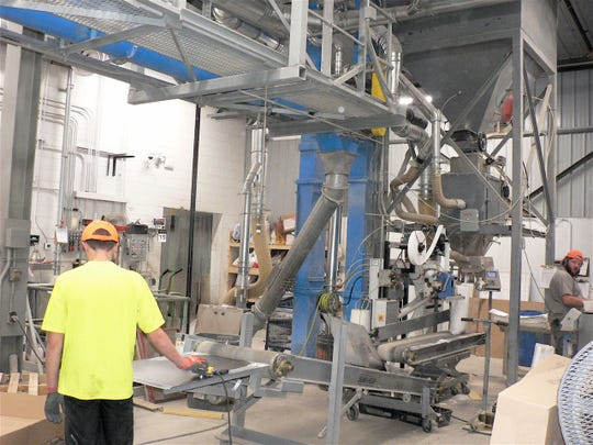 One of three production lines blending products.