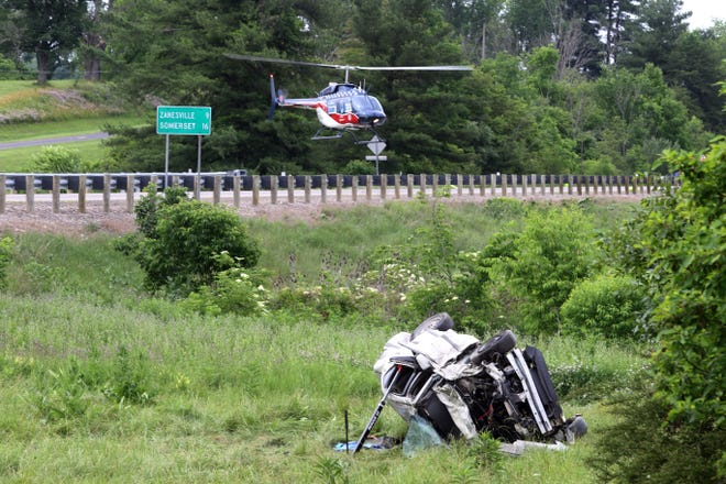 A medical helicopter leaves the scene of a two vehicle wreck at Fultonrose Road at Roseville Road in Roseville. on Wednesday.