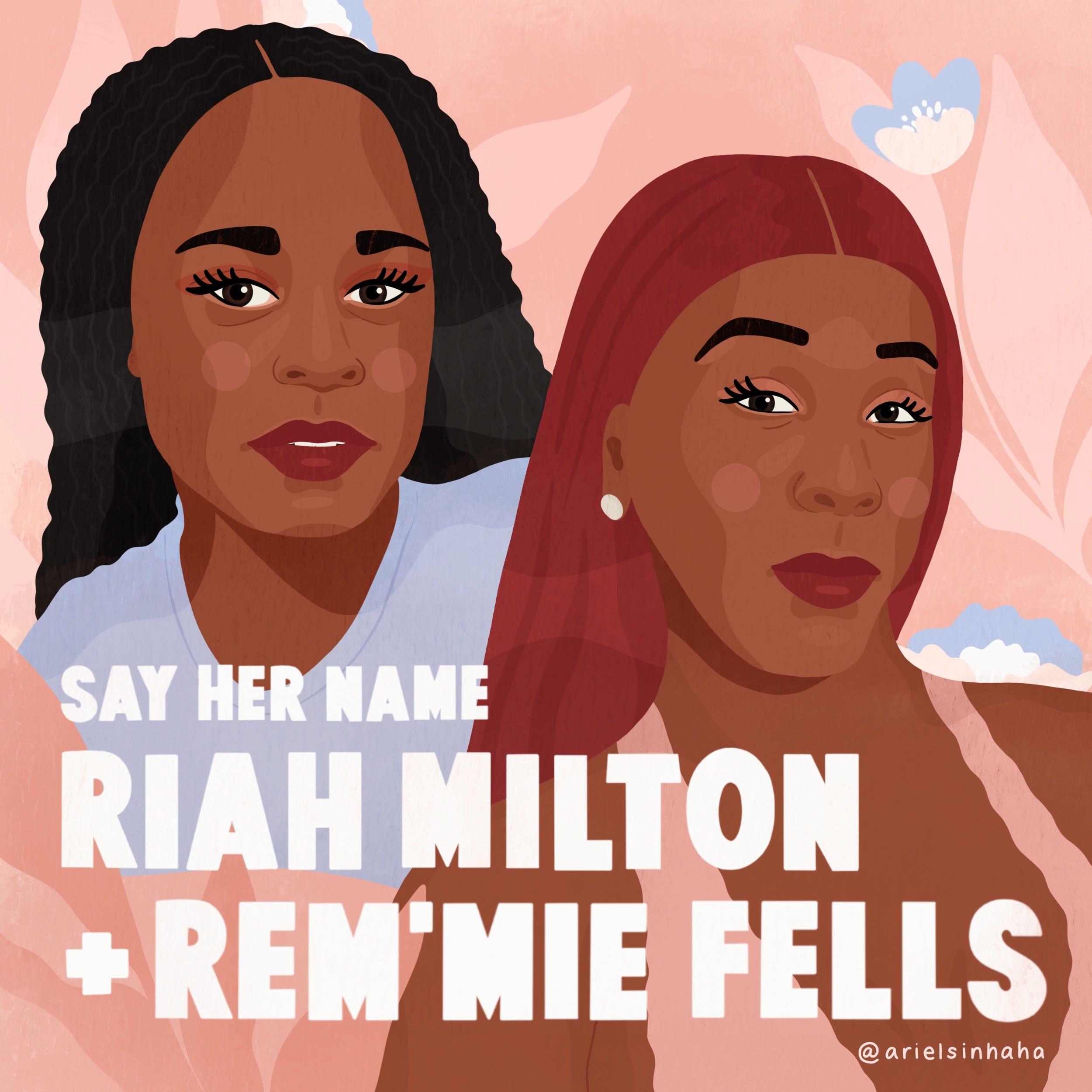Ariel Sinha drew portraits of Black trans women who were killed, Riah Milton and Rem'mie Fells.