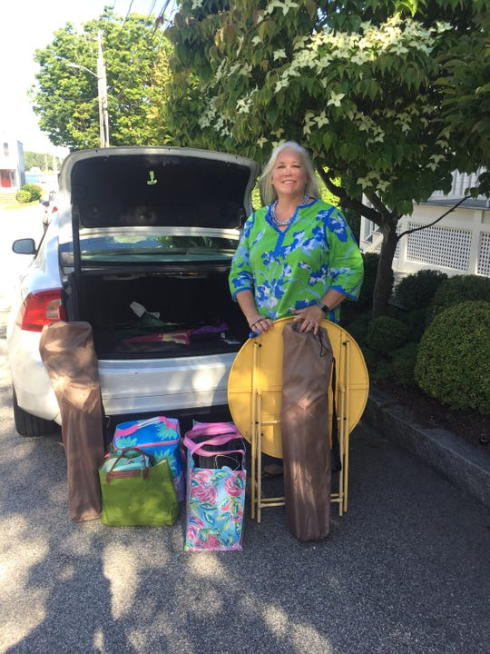 When Mary Grace Sponn of Stonington, Conn. goes to an outdoor dinner party, she brings: An old Ikea folding table, folding chairs, a big and a small cooler bag, a backpack picnic basket, reusable utensils for serving and eating, salt and pepper shakers, miniature oil and vinegar bottles, a little cheese or bread knife, paper or melamine plastic plates, zip lock bags for dirty utensils and plates, trash bags, a corkscrew, plastic wine glasses, an insulated bottle carrier from the local discount store Ocean State Job Lot and a spray bottle of rubbing alcohol for sanitizing.