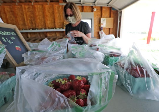Teri Meylink of Neenah wears a protective mask while shopping for strawberries at Oakridge Farms Tuesday, June 16, 2020, in Neenah Wis. Due to COVID-19 customers are not allowed to pick their own strawberries this season.