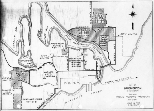 A map of housing projects in Bremerton in World War II. Black families lived in Sinclair Park, in the bottom left.