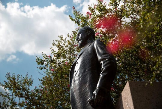 "The Lawrence Sullivan ""Sul"" Ross statue on the campus of Texas A&M University."