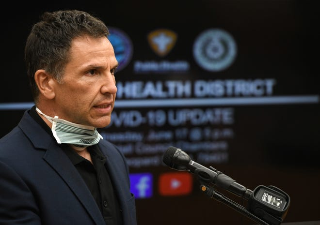 City manager Peter Zanoni speaks at the weekly coronavirus press conference, Wednesday, June 17, 2020, at City Hall. City officials and Texas A&M-Corpus Christi researcher Chris Bird discuss the recent increase of positive cases.