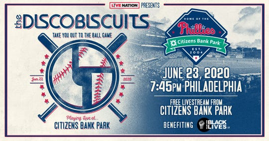 The Disco Biscuits, a Philadelphia band, will provide a free livestream performance from an empty Citizens Bank Park on June 23 to benefit Plus1 For Black Lives Fund.