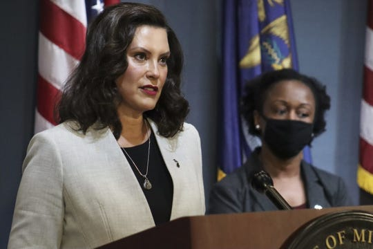 Gov. Gretchen Whitmer speaks at a coronavirus news conference Wednesday, June 17, 2020. Dr. Joneigh S. Khaldun, Chief Medical Executive and Chief Deputy Director for Health, also spoke.