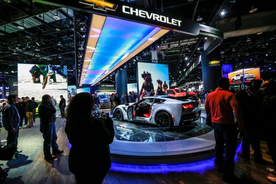 The Corvette ZR1 greets attendees as they enter the doors of the 2019 North American International Auto Show at Cobo Center in downtown Detroit on Jan. 19, 2019.