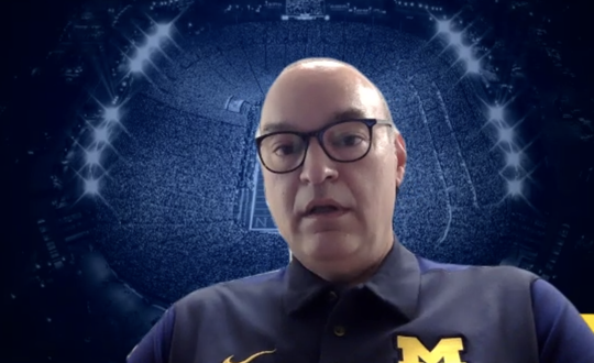 Michigan head physician Dr. Sami Rifat speaks to the media about the plan to bring student-athletes back to campus.