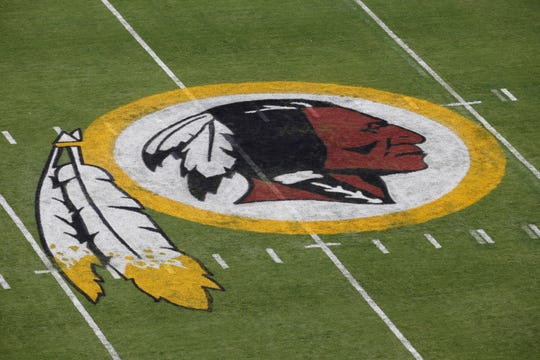 The Washington Redskins' logo is pictured at FedEx Field in Landover, Md.