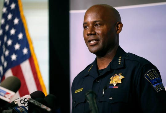 Tulsa Police Chief Wendell Franklin speaks during a news conference at Tulsa police headquarters in Tulsa, Okla., Wednesday, June 17, 2020.