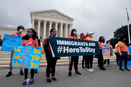DACA students rally in front of the Supreme Court, Thursday in Washington.
