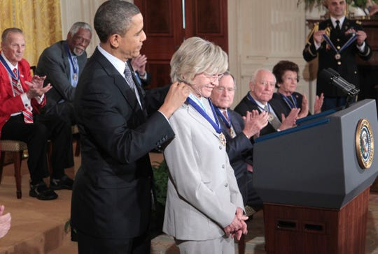 President Barack Obama presents in February 2011 a Medal of Freedom to Jean Kennedy Smith during a ceremony in the East Room of the White House.