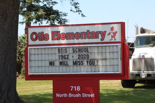 The old Otis Elementary School building on Brush Street is being torn down this week to make way for a new school building that is scheduled to open in August.
