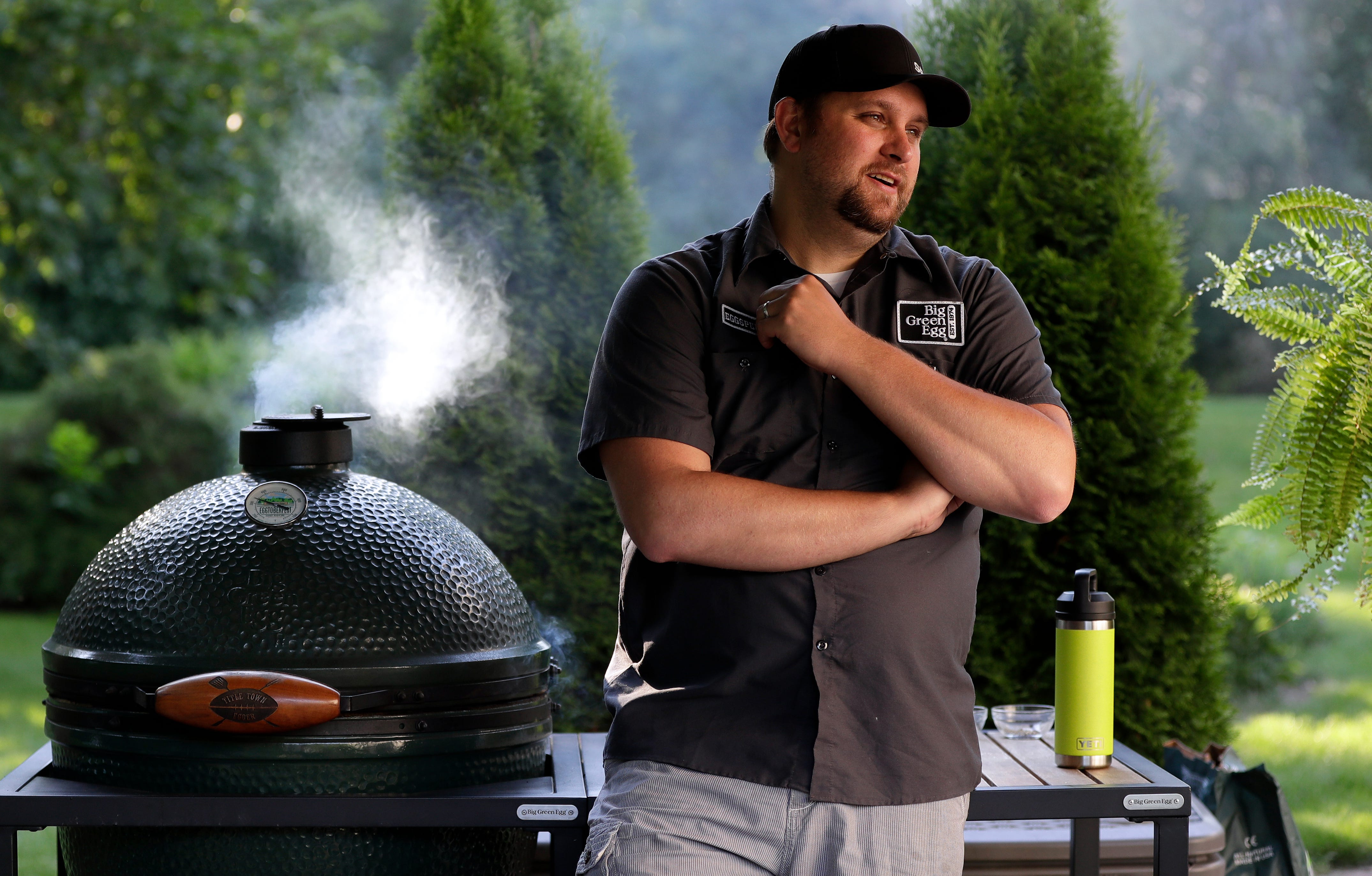 """""""It's always been my therapy. With my schedule it's nice to have a place to go back and relax,"""" said Chris Schemm of his grilling hobby."""