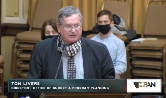 Budget Director Tom Livers speaks Tuesday to the Legislative Audit Division.