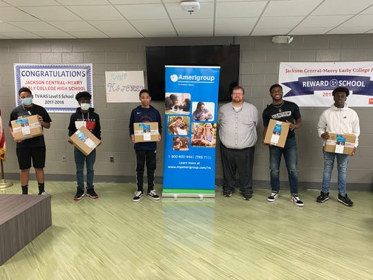Jackson Central-Merry Early College High received a donation of computers from Amerigroup Tennessee. The statewide donation to school districts and community programs aims to help families and students in underserved communities have access to their educational and health needs.
