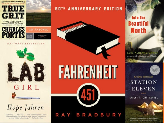 """Books chosen for NEA Big Read programs in Wisconsin include """"True Grit,"""" """"Lab Girl,"""" """"My Antonia,"""" """"Fahrenheit 451,"""" """"Into the Beautiful North"""" and """"Station Eleven."""""""