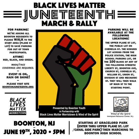 Black Lives Matter Morristown, immigrant rights Wind of the Spirit and local residents host Boonton's first-ever Juneteenth march and rally.