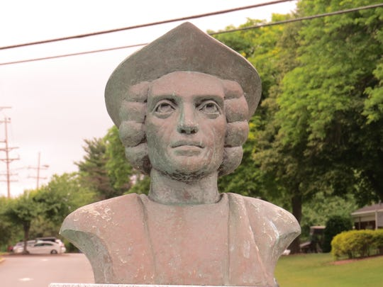 A bust of Christopher Columbus sits on the property of the Parsippany Municipal Building, near the intersection of routes 46 and 202. June 18, 2020