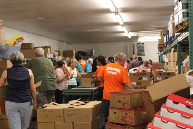 Volunteers working at the Sumner County Food Bank in Gallatin.