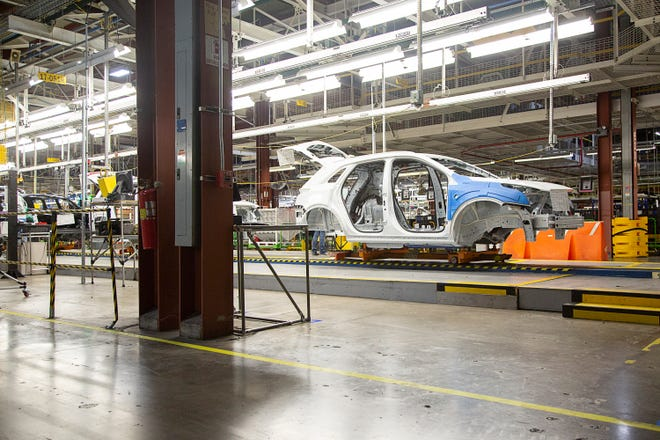 An assembly line inside the General Motors facility in Spring Hill, Tenn., on Jan. 24, 2019. (Staff photo by Mike Christen)