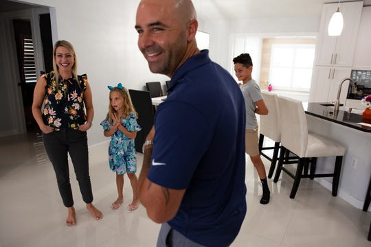 The Sergio family, Christy and her husband Sergio spend time together with their children Emma and Sean at their home, Thursday, June 18, 2020.