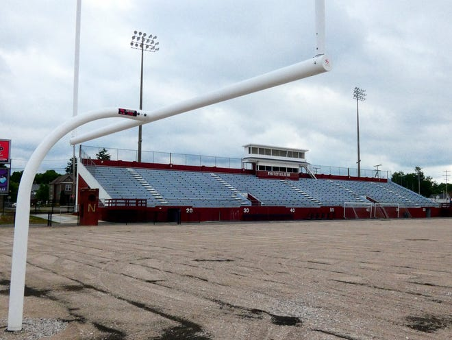The turf has been taken off Newark's White Field after being severely damaged by flooding three months ago. It will be replaced starting at the end of this month and is expected to be finished by Aug. 1, weather permitting.