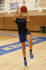 Carlsbad junior Morgan Boatwright works on layups during practice on June 18, 2020.