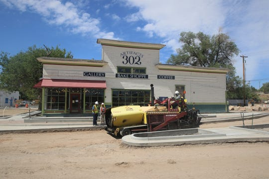 A section of East Main Street outside the Artifacts Gallery is prepared for paving on June 18, 2020, in downtown Farmington.